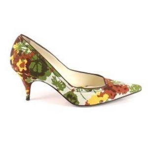 Bettye Muller Pumps Green Floral Pointed Heel 38